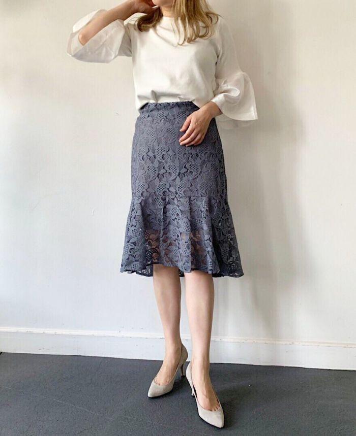 イレギュラーヘムレーススカート