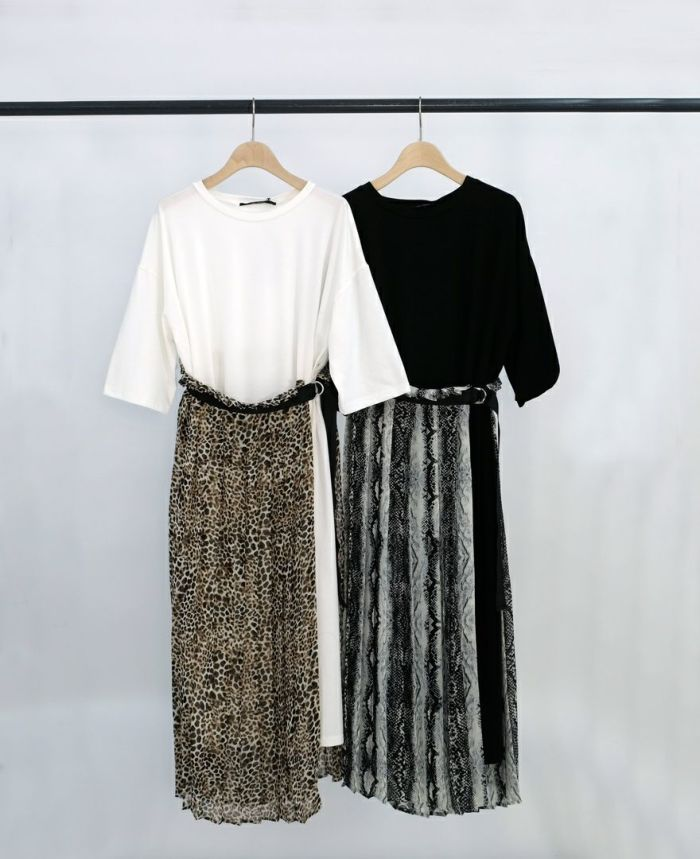アニマル巻きスカート付きクルーネックロングワンピース