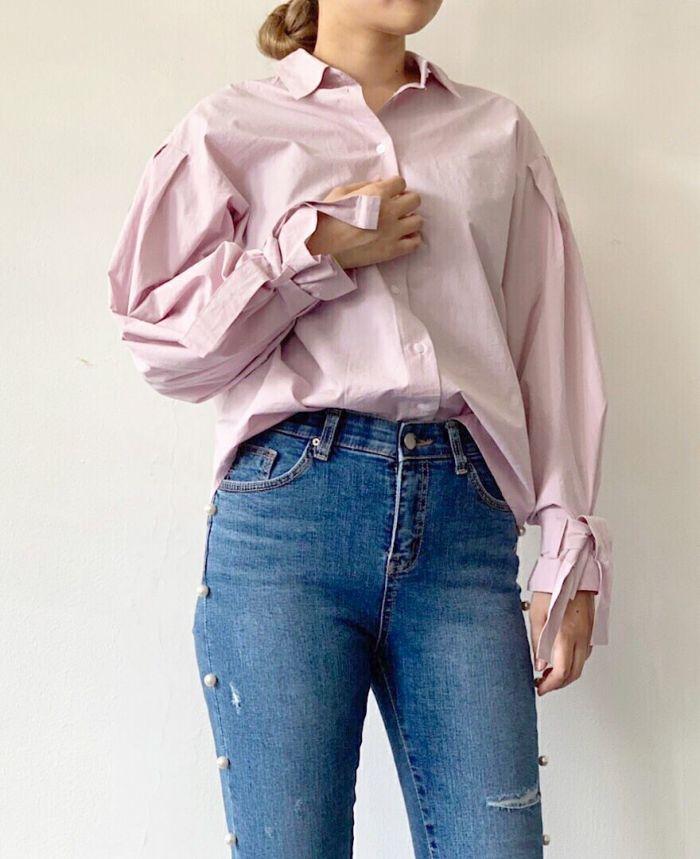 袖リボンドロップショルダーシャツ