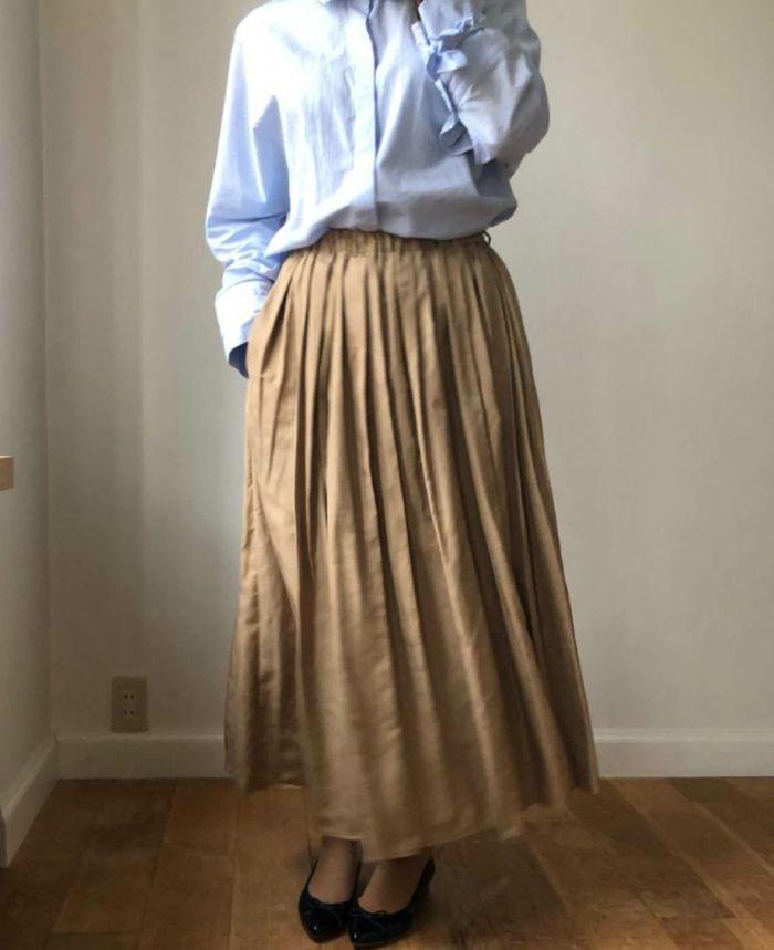 ウエストすっきりボリュームタックロングスカート