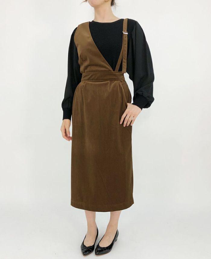 コーデュロイワンショルダージャンパースカート