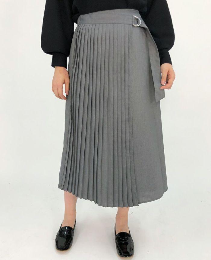 巻きスカート風ベルトプリーツスカート