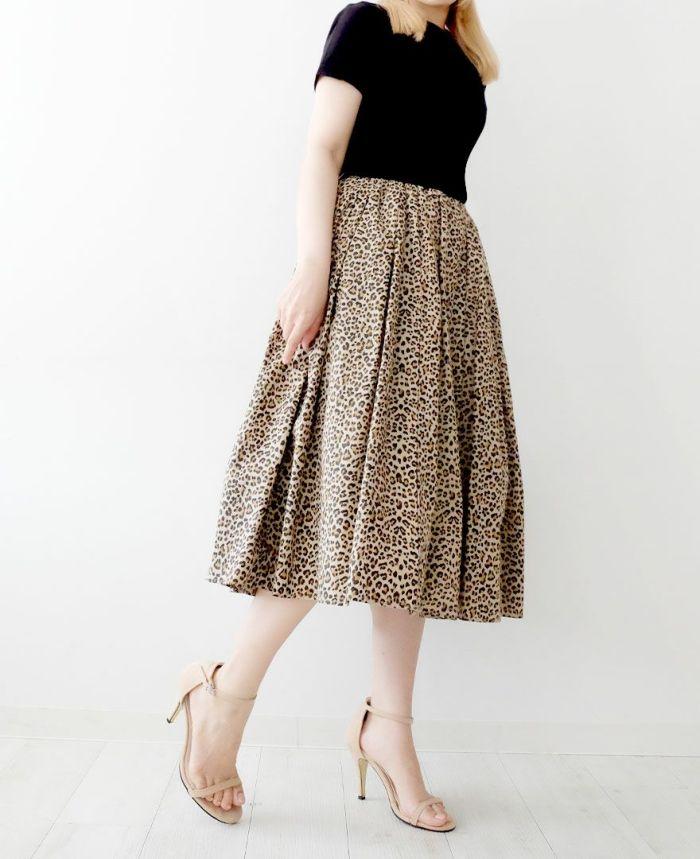 神戸・山の手レオパードスカート ミモレ丈