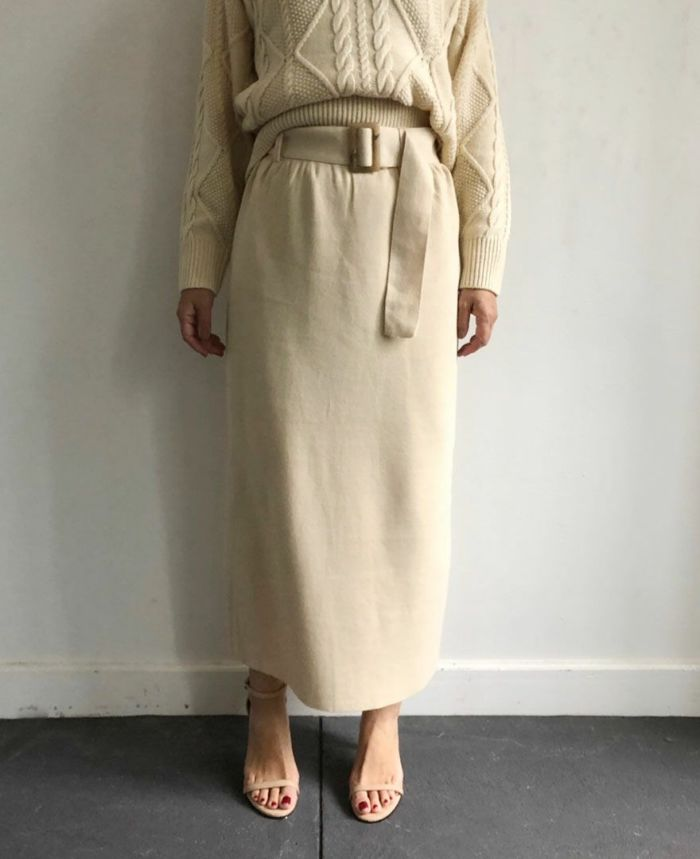 Iラインタイトロングニットスカート