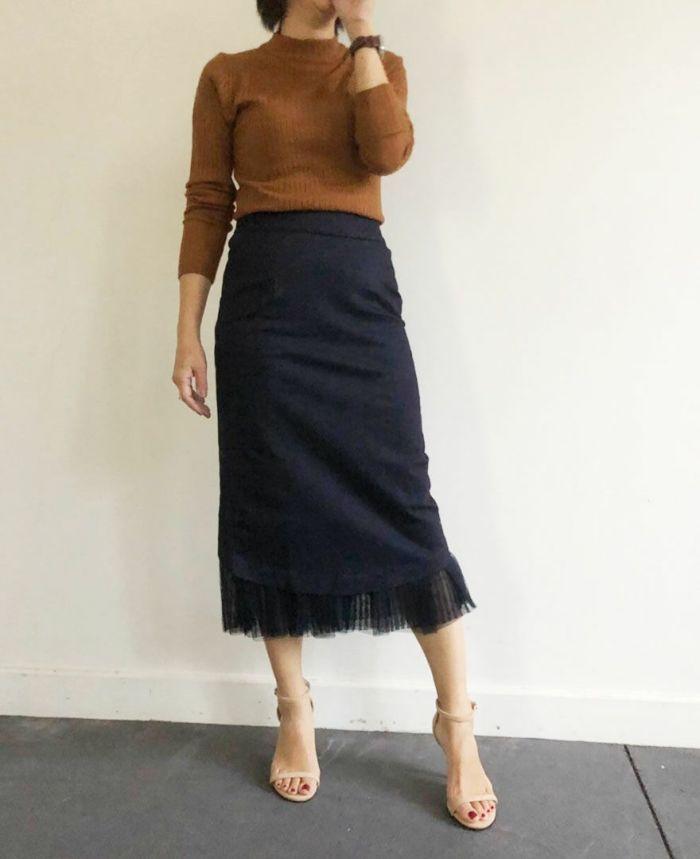 デニムチュールタイトスカート