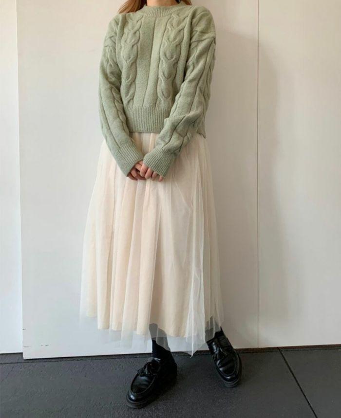 身長159cm ホワイトのチュールスカートとコーディネート