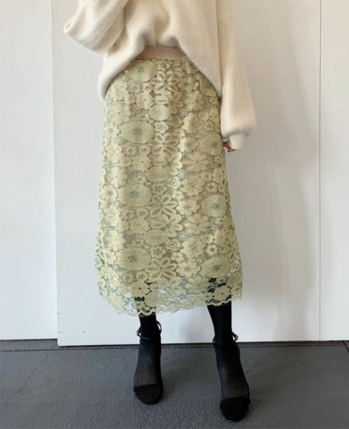 花柄レースニットスカート