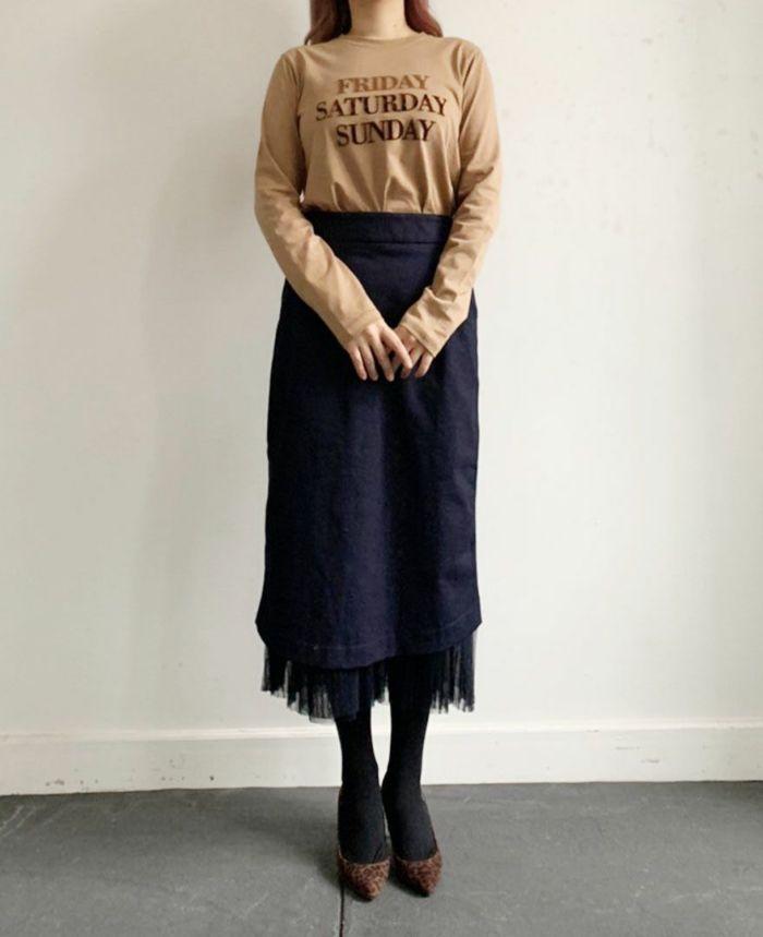 身長159cm  カジュアルにデニムのタイトスカートとコーディネート