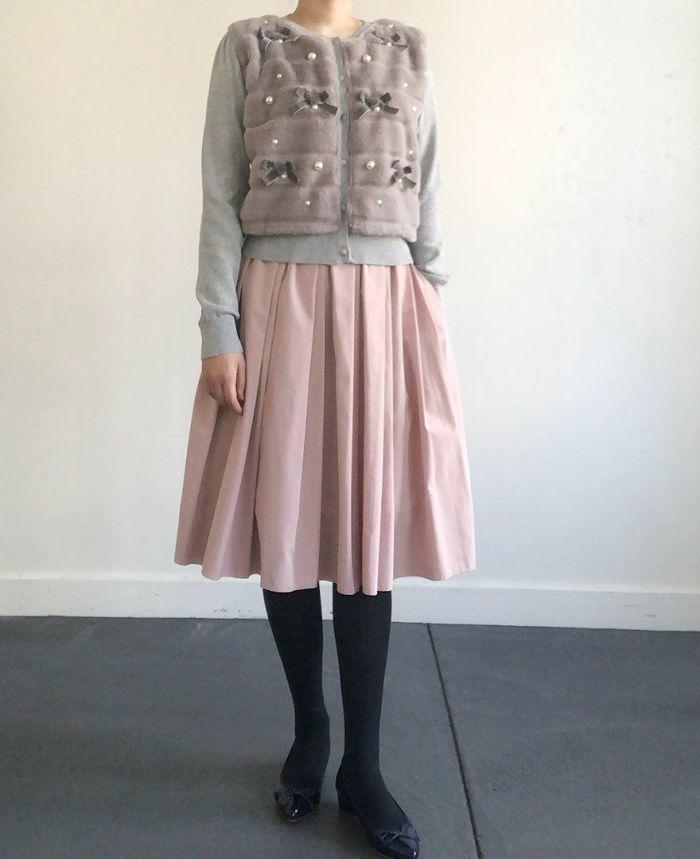 身長159cm ライトピンクの神戸山の手スカートとコーディネート