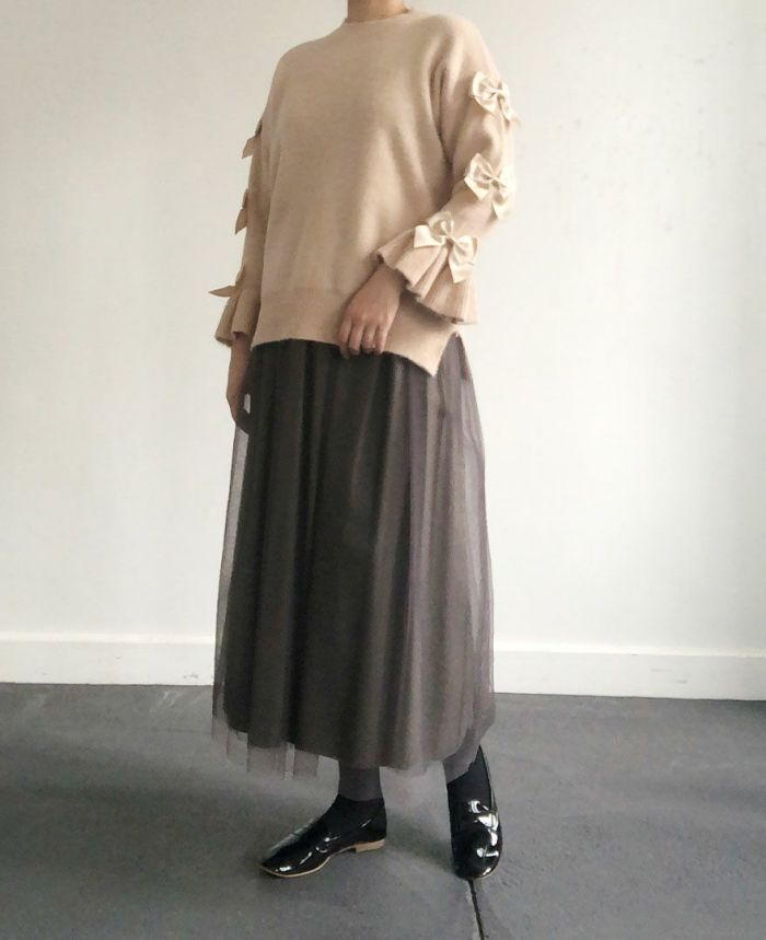 身長159cm  グレージュのチュールスカートで大人フェミニンコーデ
