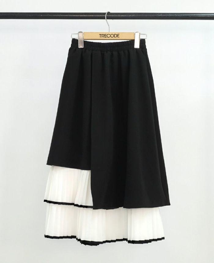 ラインヘムプリーツレイヤードスカート ブラック