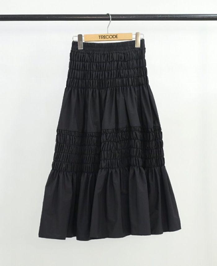 シャーリングロングスカート ブラック