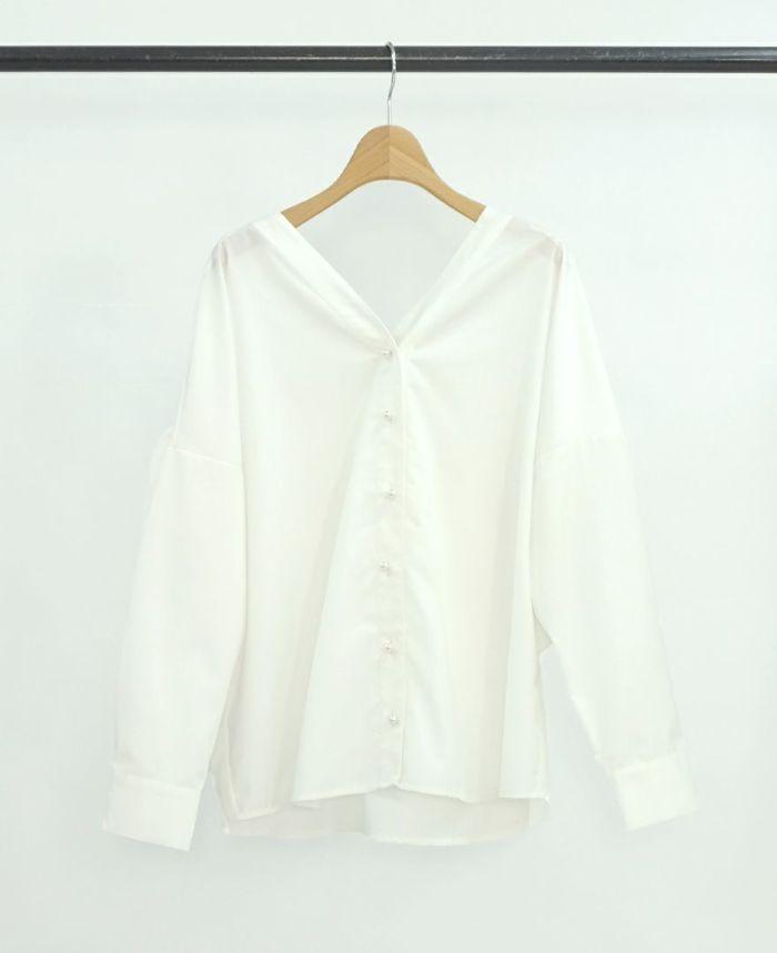 バックフリルVネックシャツ ホワイト