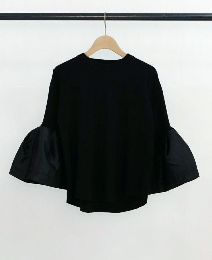 異素材フリル袖プルオーバー ブラック