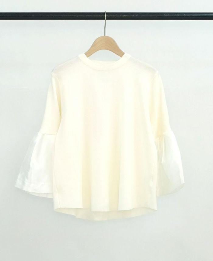 異素材フリル袖プルオーバー ホワイト