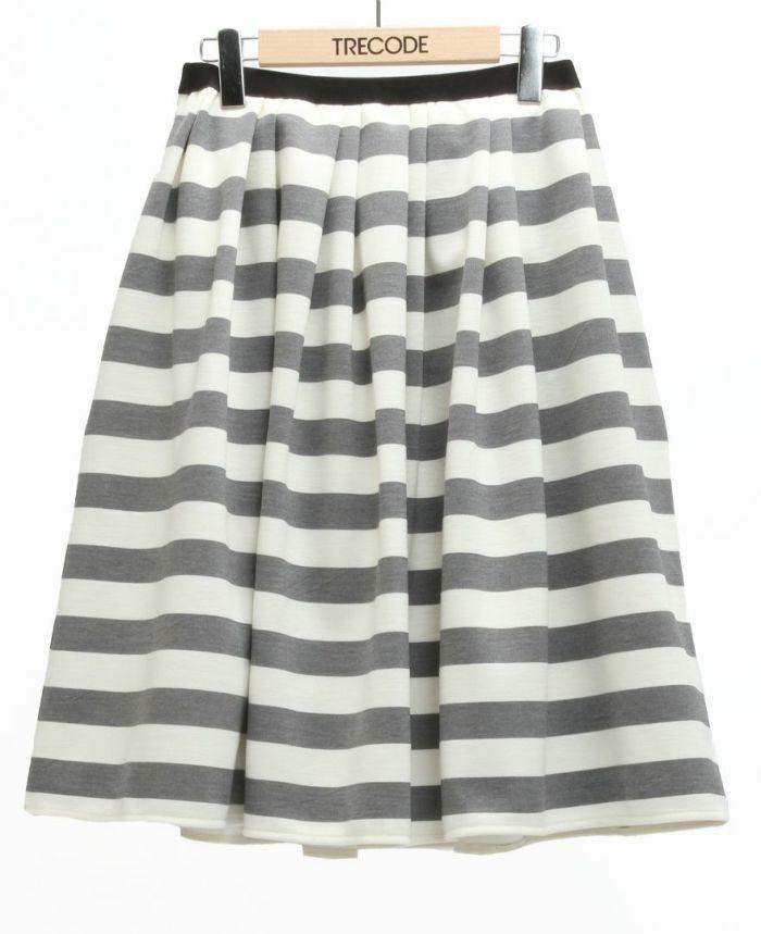 神戸・山の手ボーダースカート ミモレ丈 グレー
