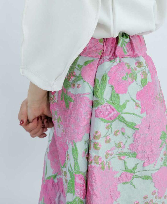 ウエストバックゴムのミモレ丈スカート