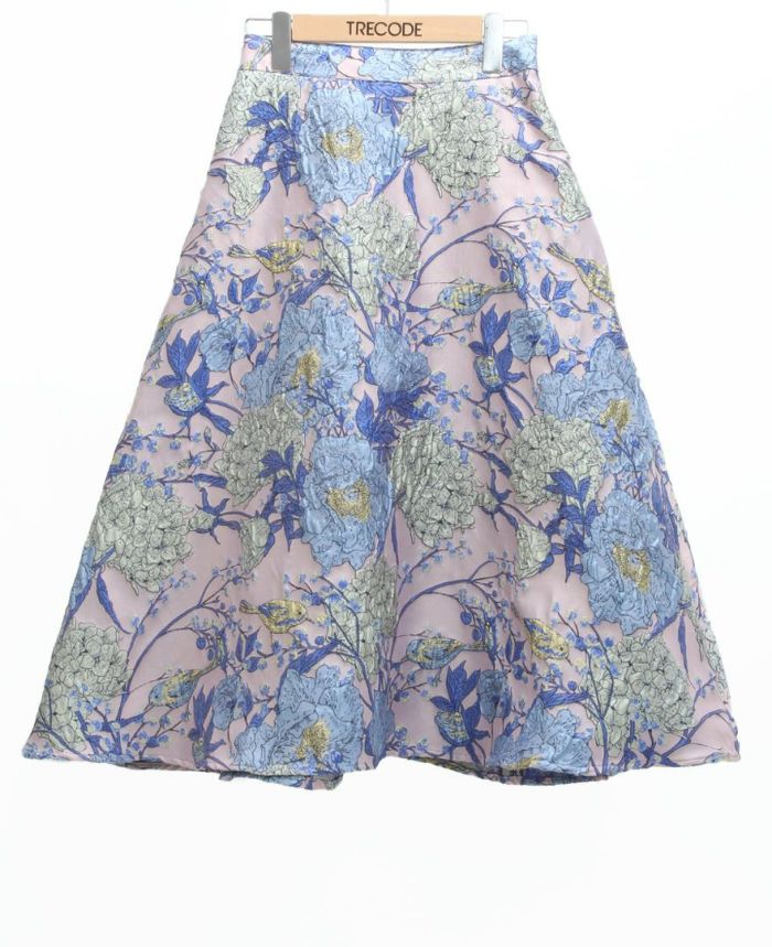 フラワージャガードフレアスカート ブルー
