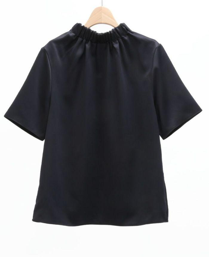 ネックギャザー半袖ブラウス ブラック