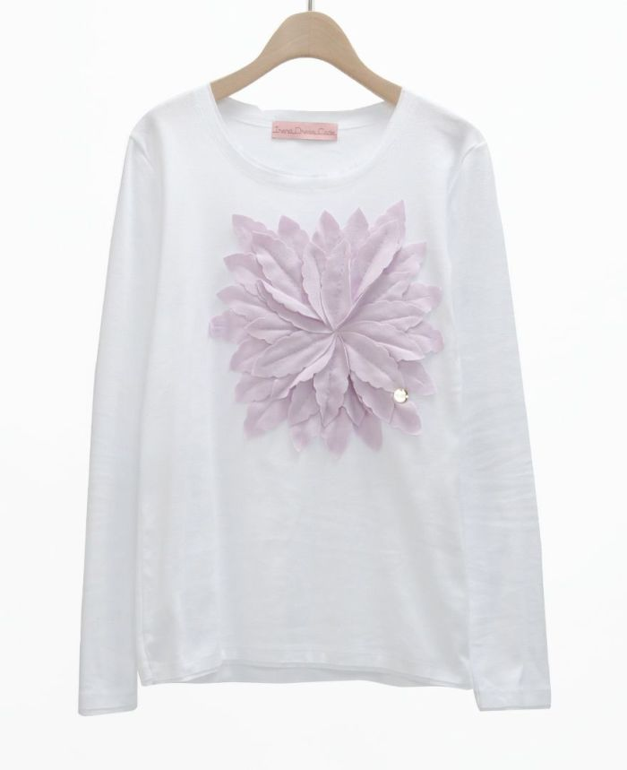 お花アップリケ長袖Tシャツ WHT*L.PUR
