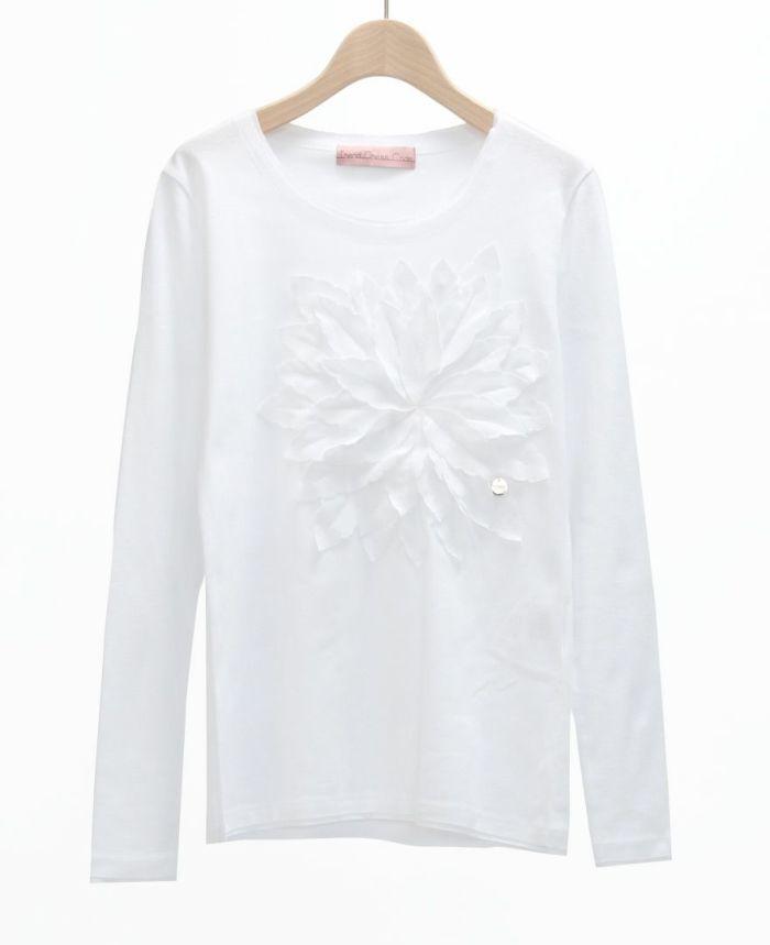 お花アップリケ長袖Tシャツ WHT*ホワイト
