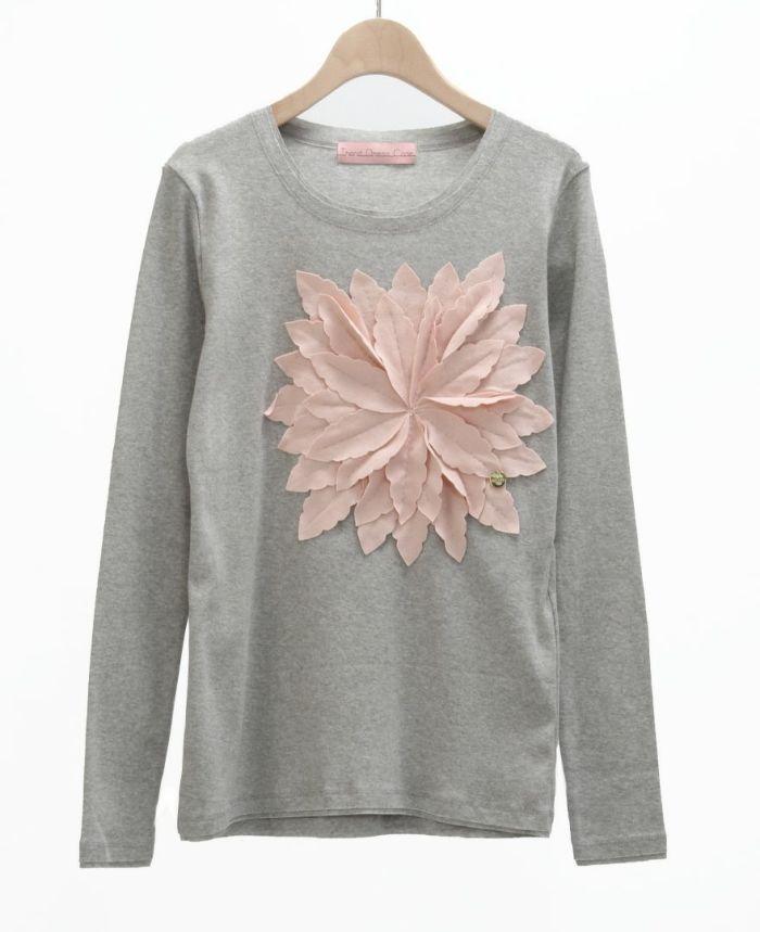 お花アップリケ長袖Tシャツ GRY*ピンク