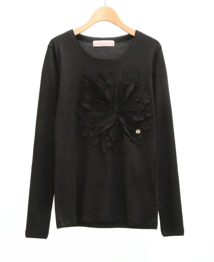 お花アップリケ長袖Tシャツ BLK*ブラック