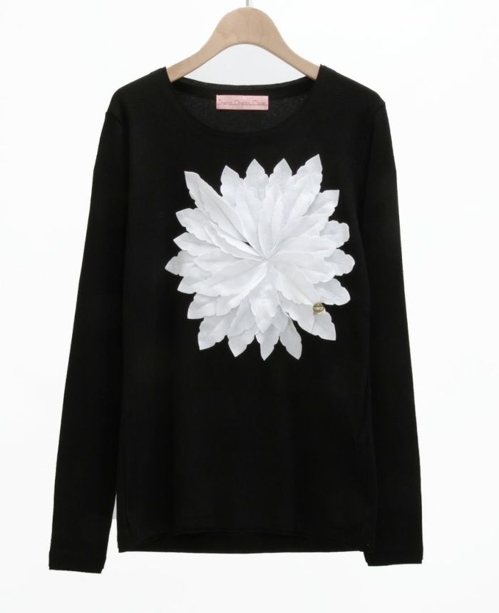 お花アップリケ長袖Tシャツ BLK*ホワイト