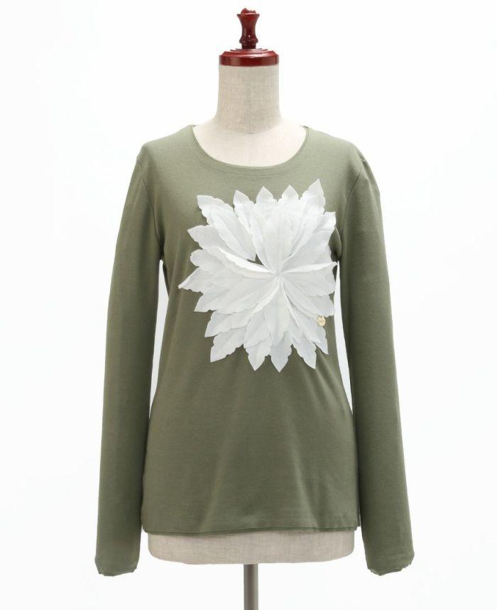 お花アップリケ長袖Tシャツ フロント
