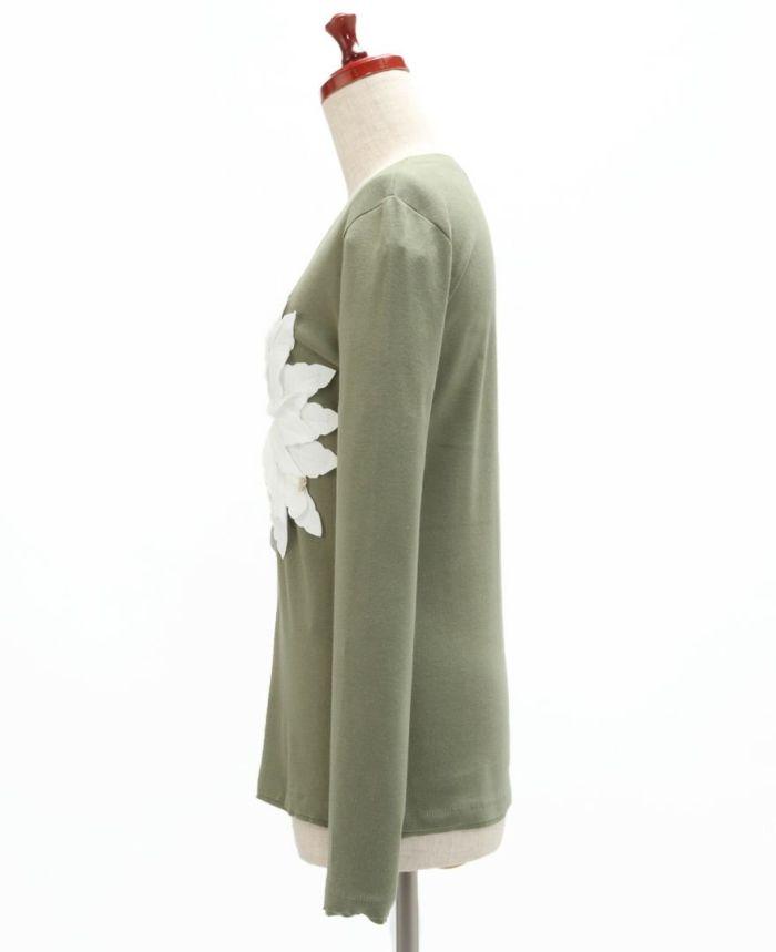 お花アップリケ長袖Tシャツ サイド