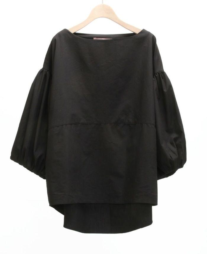 ふんわりボリューム袖ブラウス ブラック