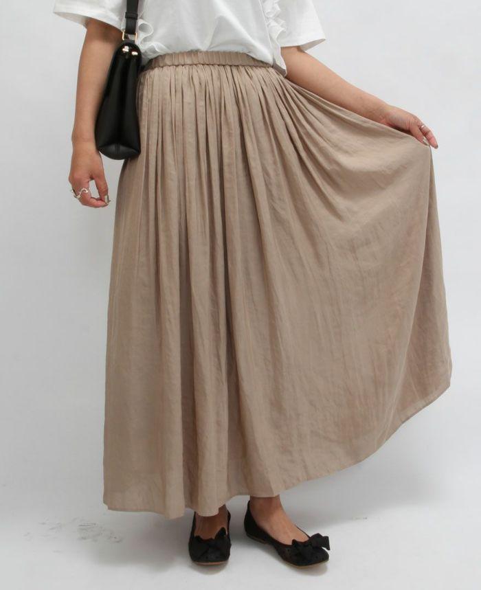 落ち感のある生地が綺麗なシフォンギャザーマキシスカート