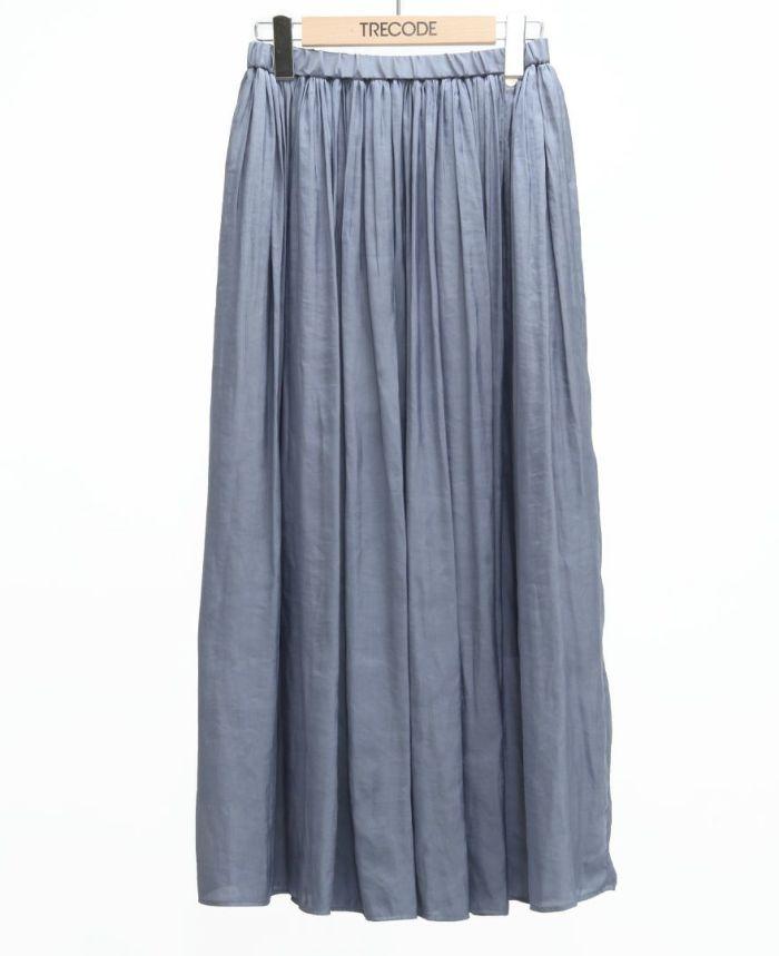 シフォンギャザーマキシスカート ブルー