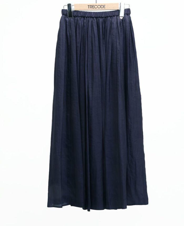 シフォンギャザーマキシスカート ネイビー