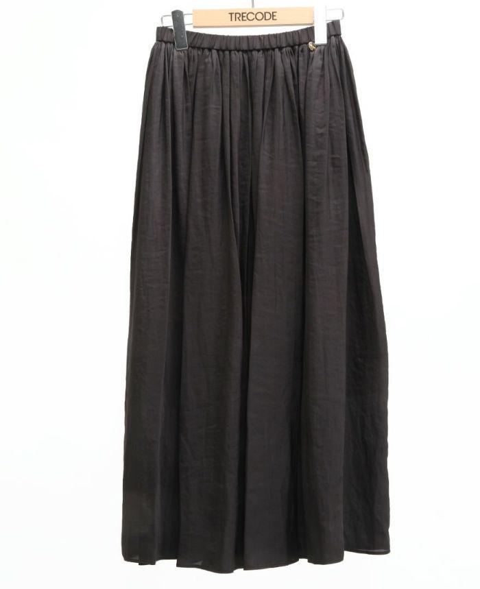 シフォンギャザーマキシスカート ブラック