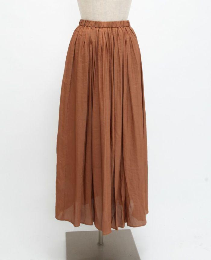 シフォンギャザーマキシスカート フロント