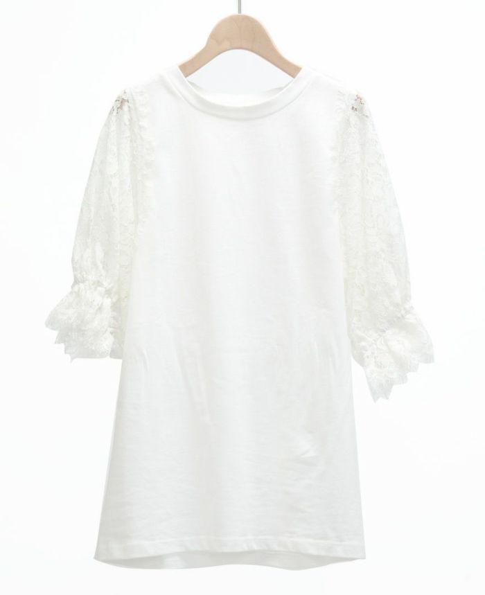 フラワーレース5分袖Tシャツ ホワイト