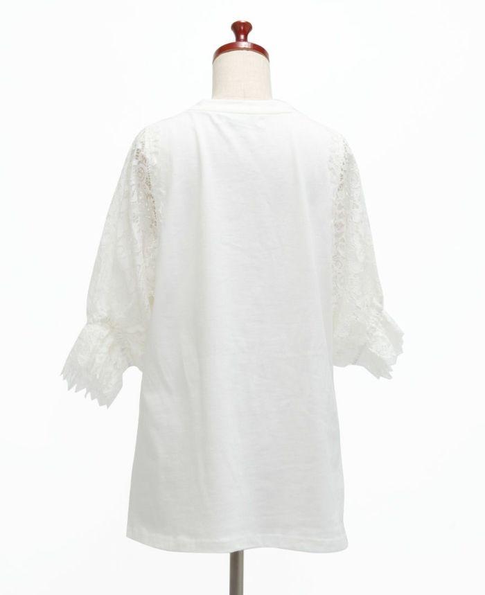 フラワーレース5分袖Tシャツ バック