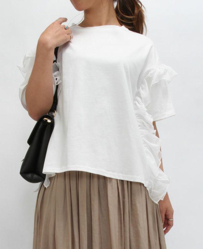 サイドフリル半袖Tシャツ