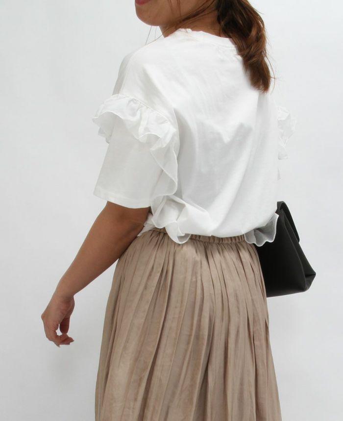 インしても可愛いサイドフリル半袖Tシャツ