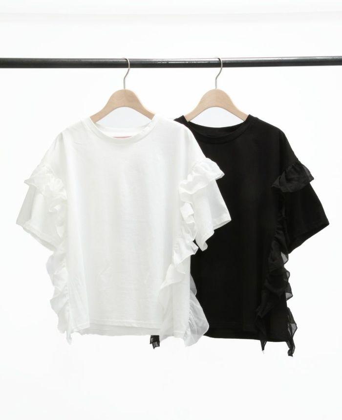 サイドフリル半袖Tシャツ カラー展開