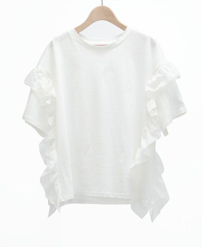 サイドフリル半袖Tシャツ ホワイト
