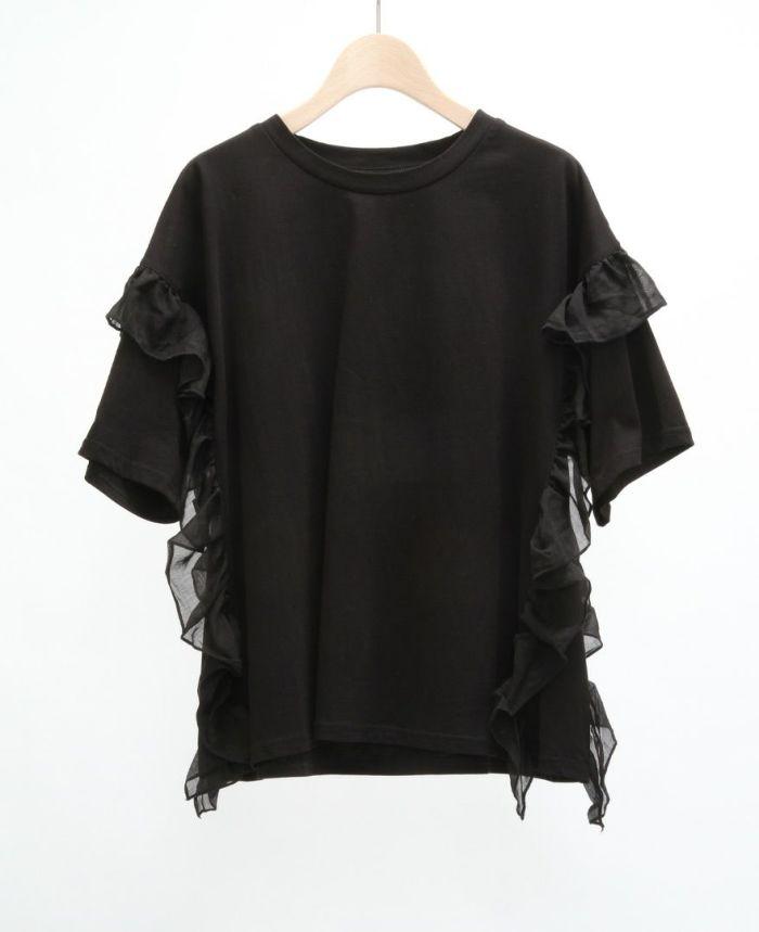 サイドフリル半袖Tシャツ ブラック