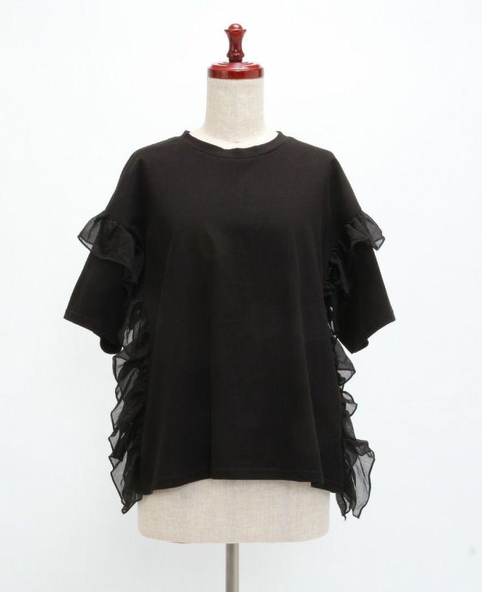 サイドフリル半袖Tシャツ フロント