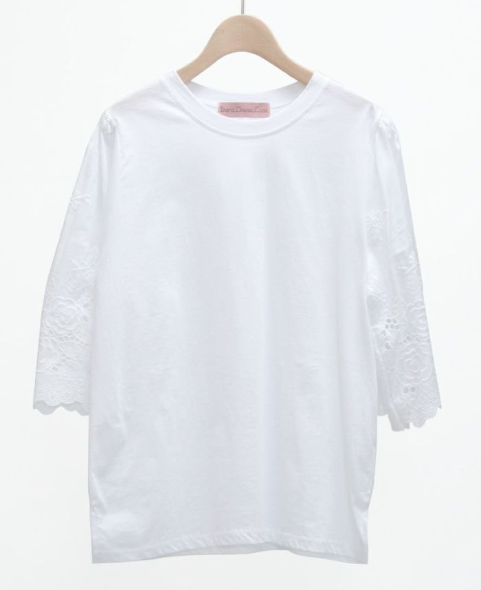 レース半袖Tシャツ ホワイト
