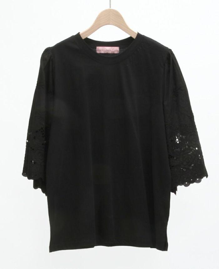 レース半袖Tシャツ ブラック