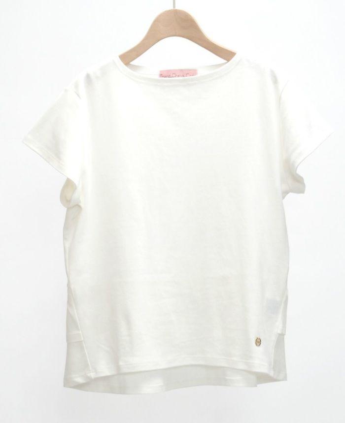 バックフリル半袖カットソー ホワイト