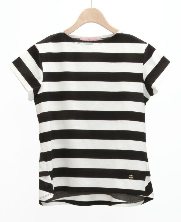 バックフリル半袖カットソー ホワイト×ブラック