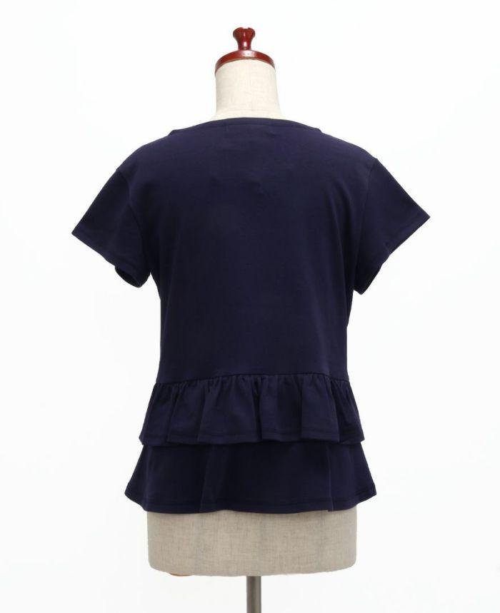 バックフリル半袖カットソー バック