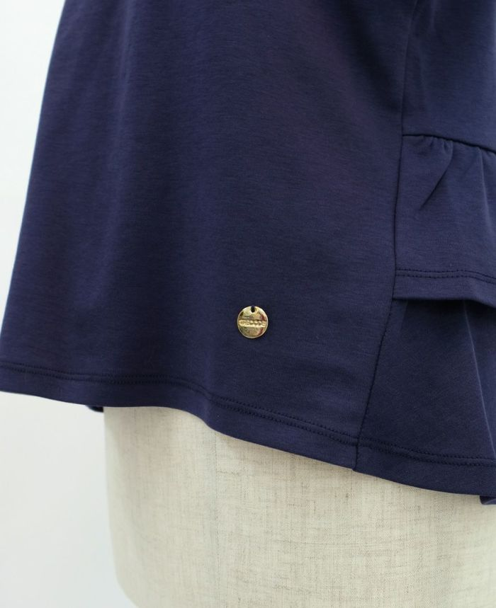バックフリル半袖カットソー モチーフチャーム